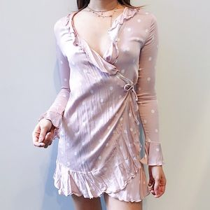 URBAN OUTFITTERS Polka Dot Pink Wrap Dress